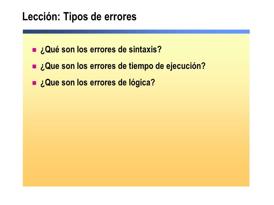 Lección: Tipos de errores