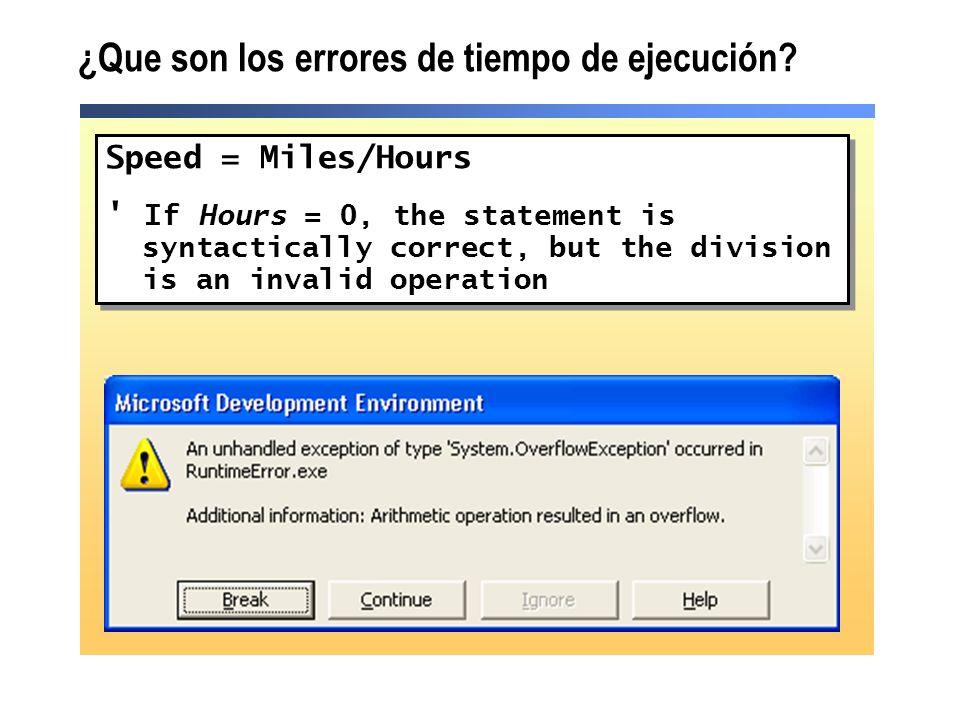 ¿Que son los errores de tiempo de ejecución