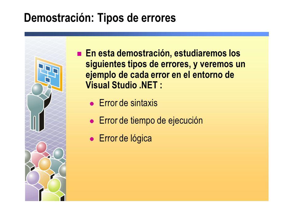 Demostración: Tipos de errores