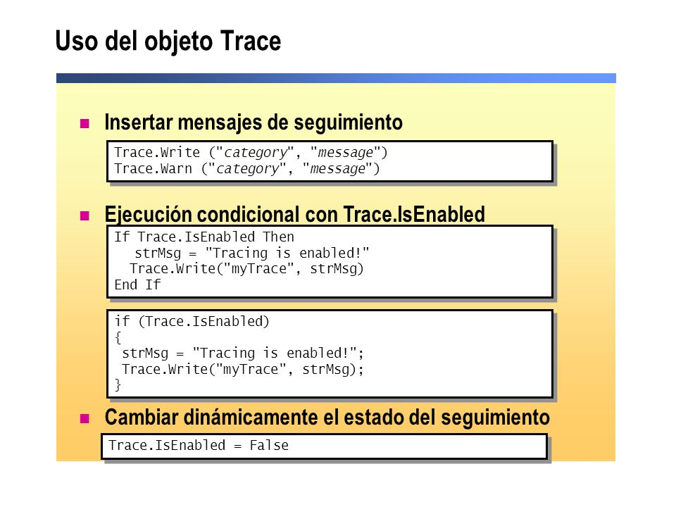 Uso del objeto Trace Insertar mensajes de seguimiento