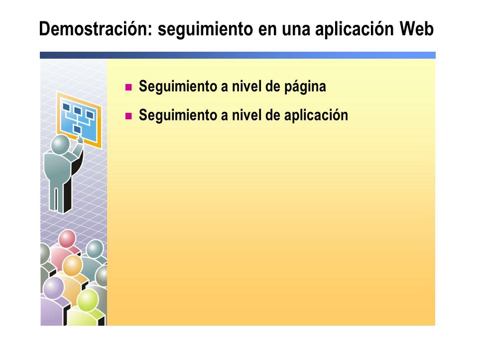 Demostración: seguimiento en una aplicación Web