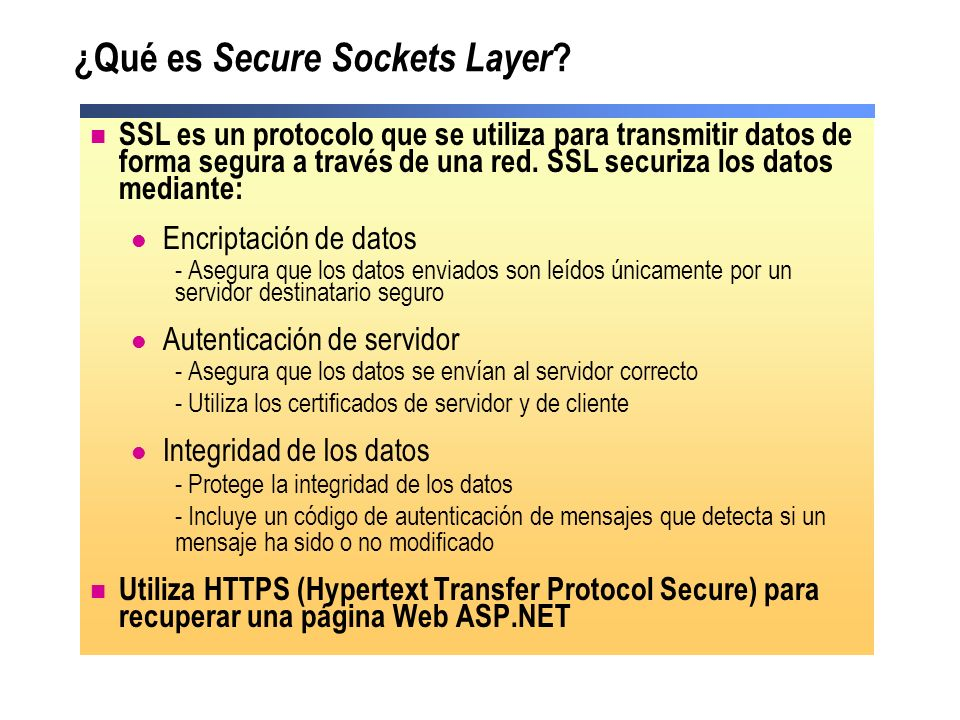 ¿Qué es Secure Sockets Layer
