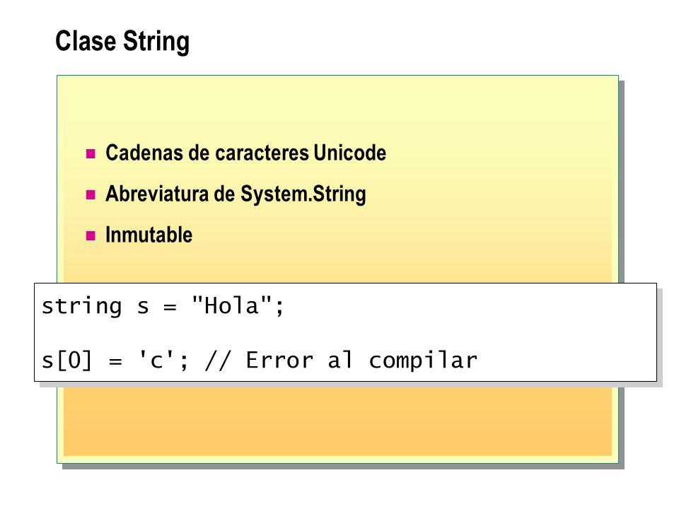 Clase String Cadenas de caracteres Unicode