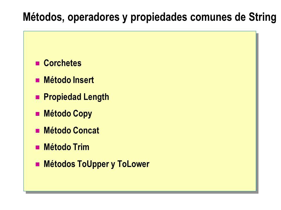 Métodos, operadores y propiedades comunes de String