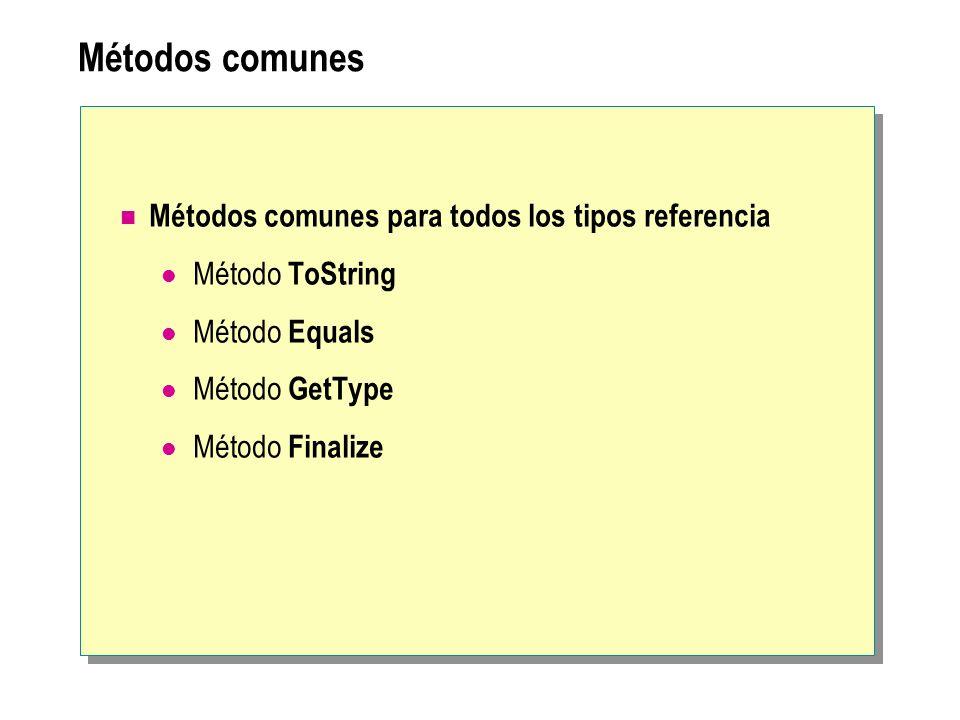 Métodos comunes Métodos comunes para todos los tipos referencia