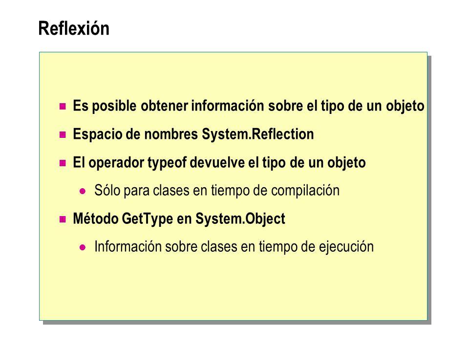 Reflexión Es posible obtener información sobre el tipo de un objeto