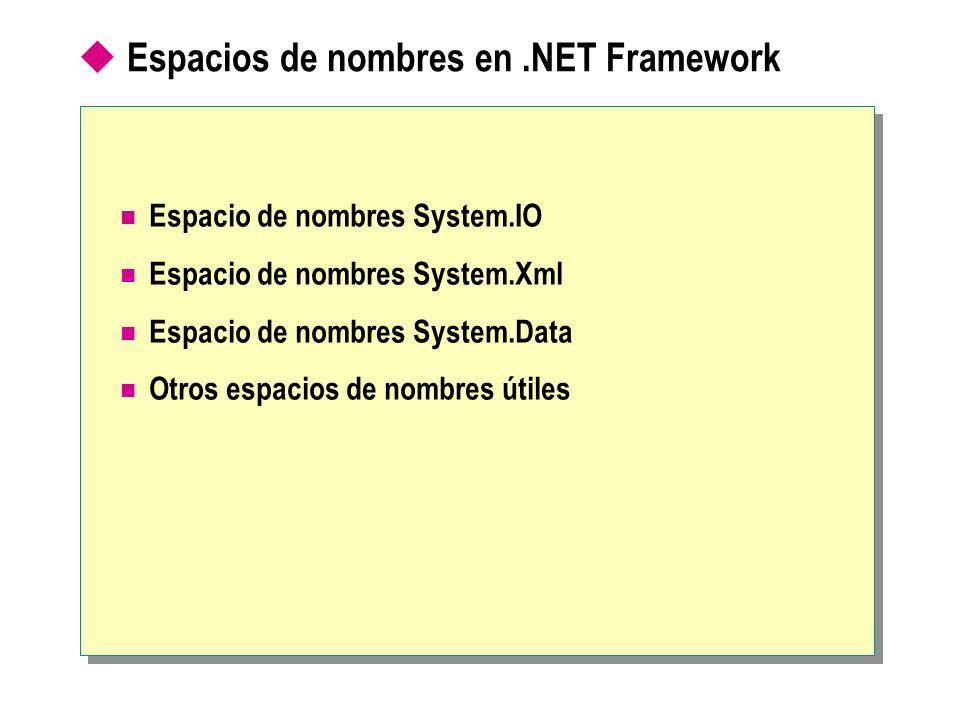 Espacios de nombres en .NET Framework