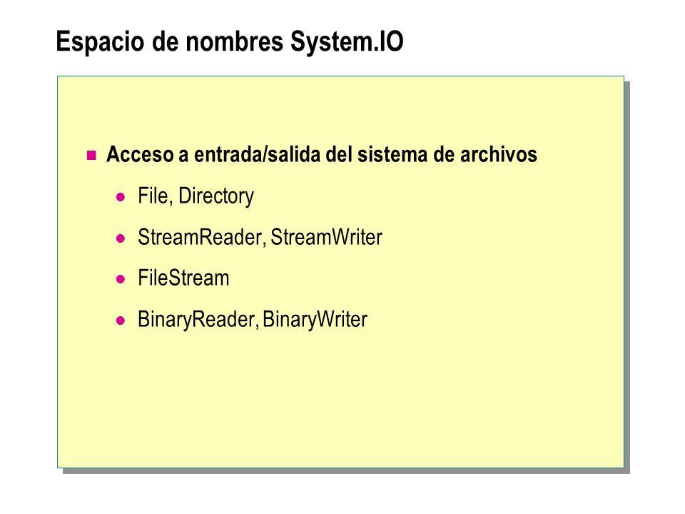 Espacio de nombres System.IO