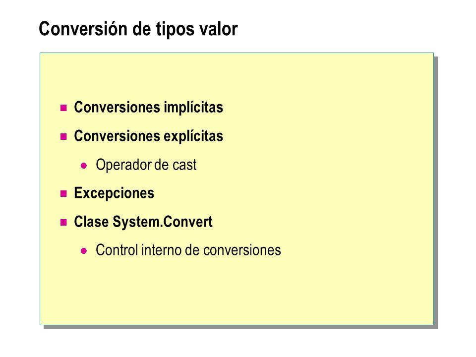 Conversión de tipos valor