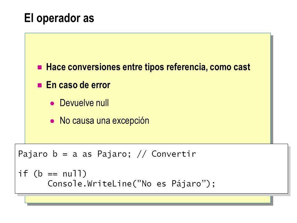 El operador as Hace conversiones entre tipos referencia, como cast