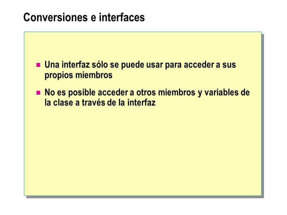 Conversiones e interfaces