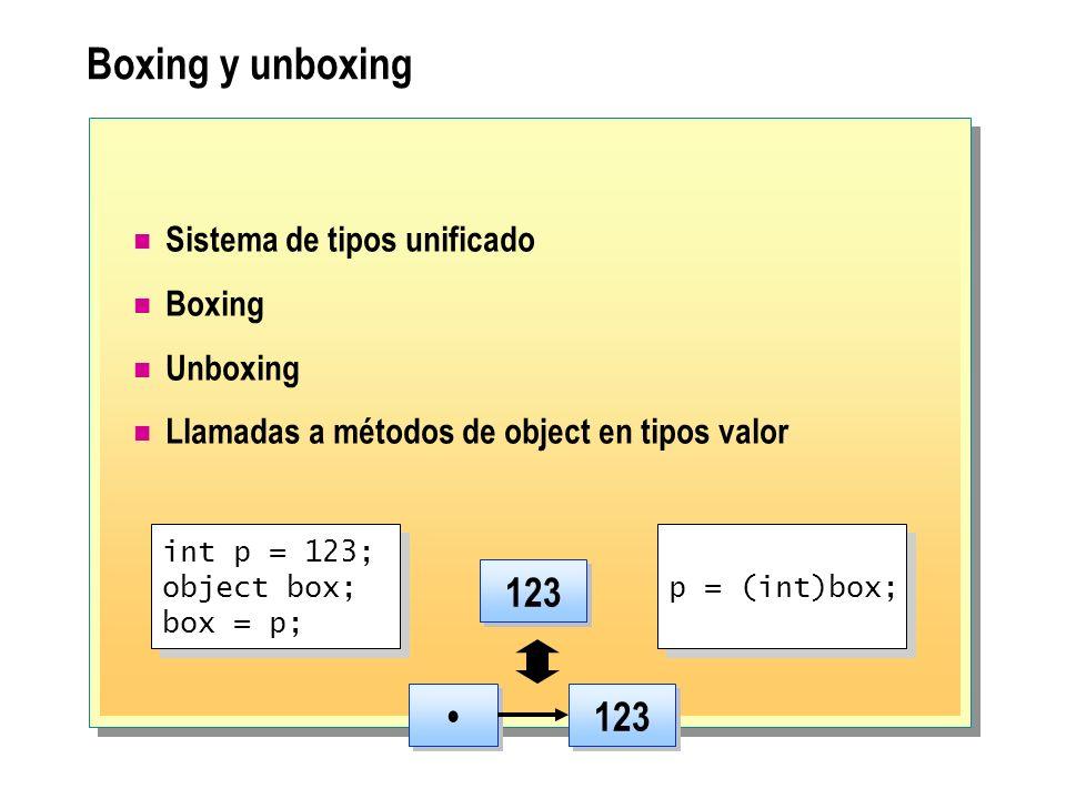 Boxing y unboxing 123 • 123 Sistema de tipos unificado Boxing Unboxing