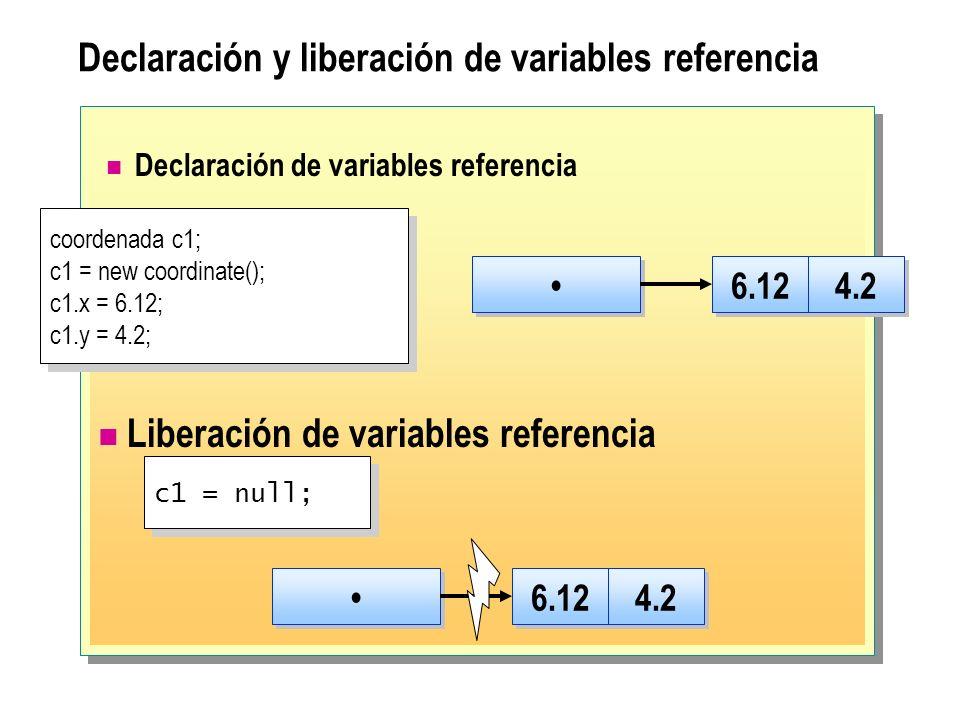 Declaración y liberación de variables referencia