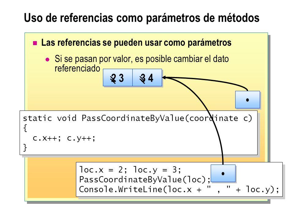 Uso de referencias como parámetros de métodos