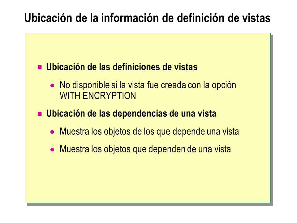 Ubicación de la información de definición de vistas