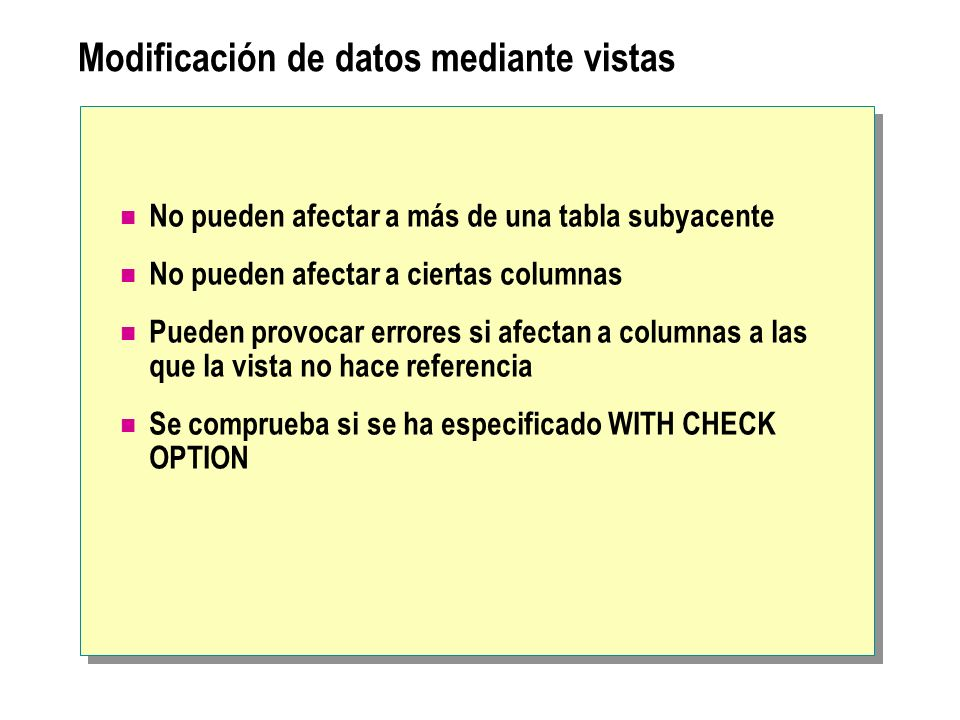 Modificación de datos mediante vistas