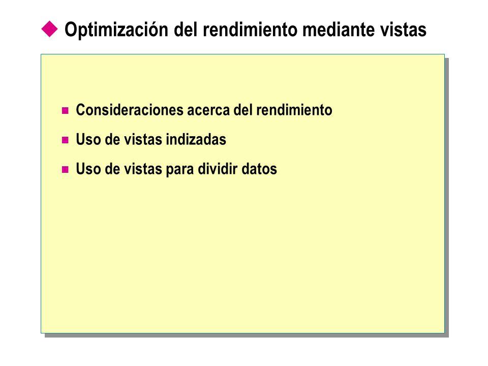 Optimización del rendimiento mediante vistas