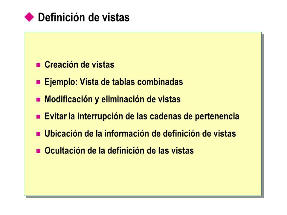 Definición de vistas Creación de vistas