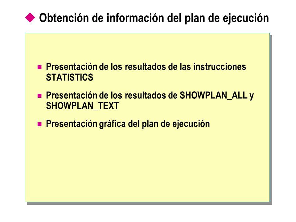 Obtención de información del plan de ejecución