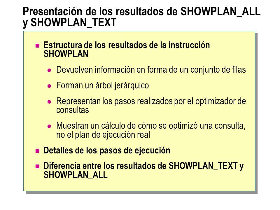 Presentación de los resultados de SHOWPLAN_ALL y SHOWPLAN_TEXT