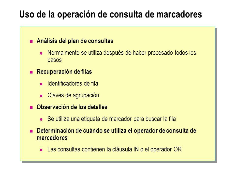 Uso de la operación de consulta de marcadores