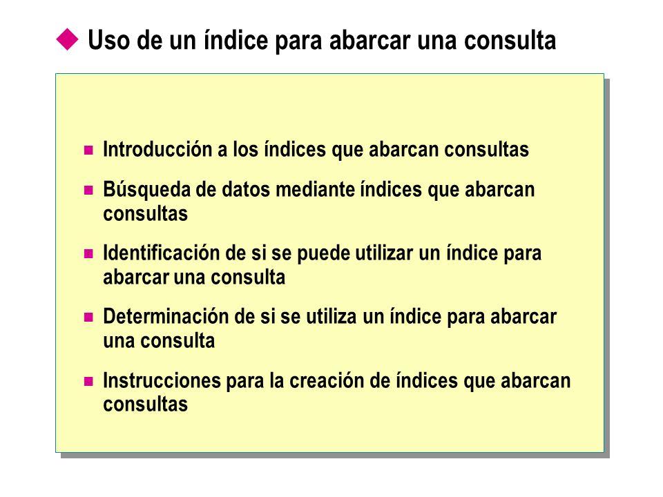 Uso de un índice para abarcar una consulta