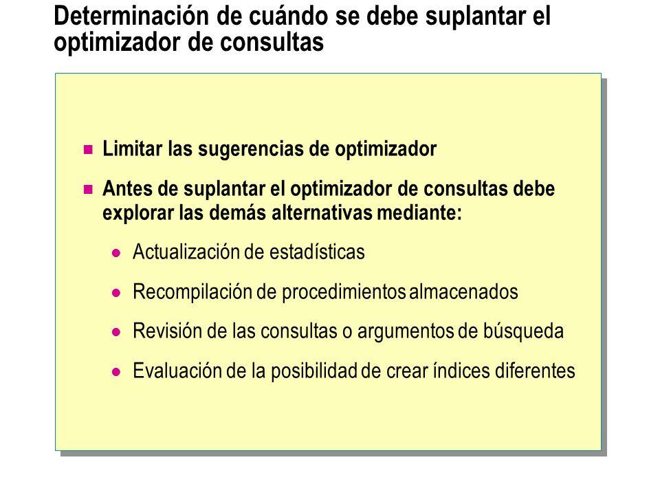 Determinación de cuándo se debe suplantar el optimizador de consultas