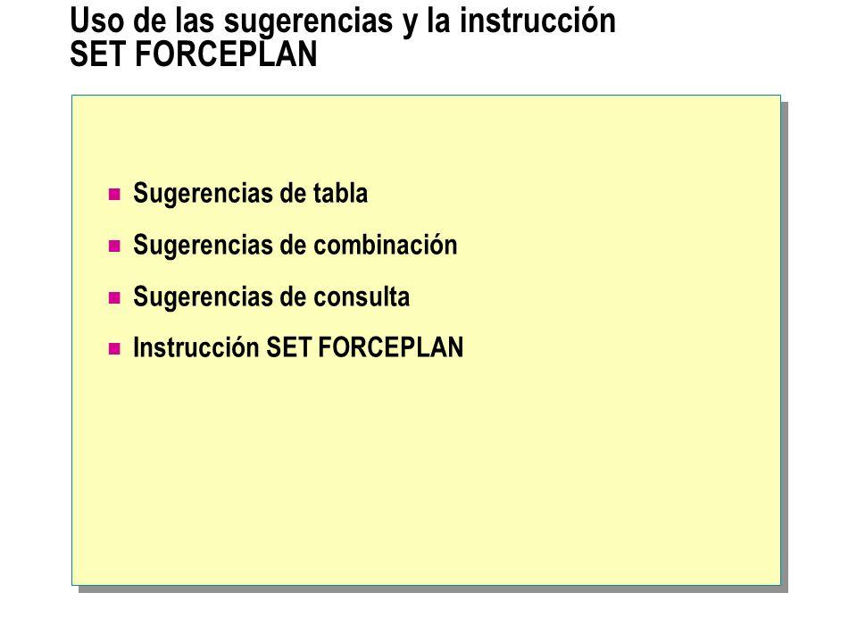 Uso de las sugerencias y la instrucción SET FORCEPLAN