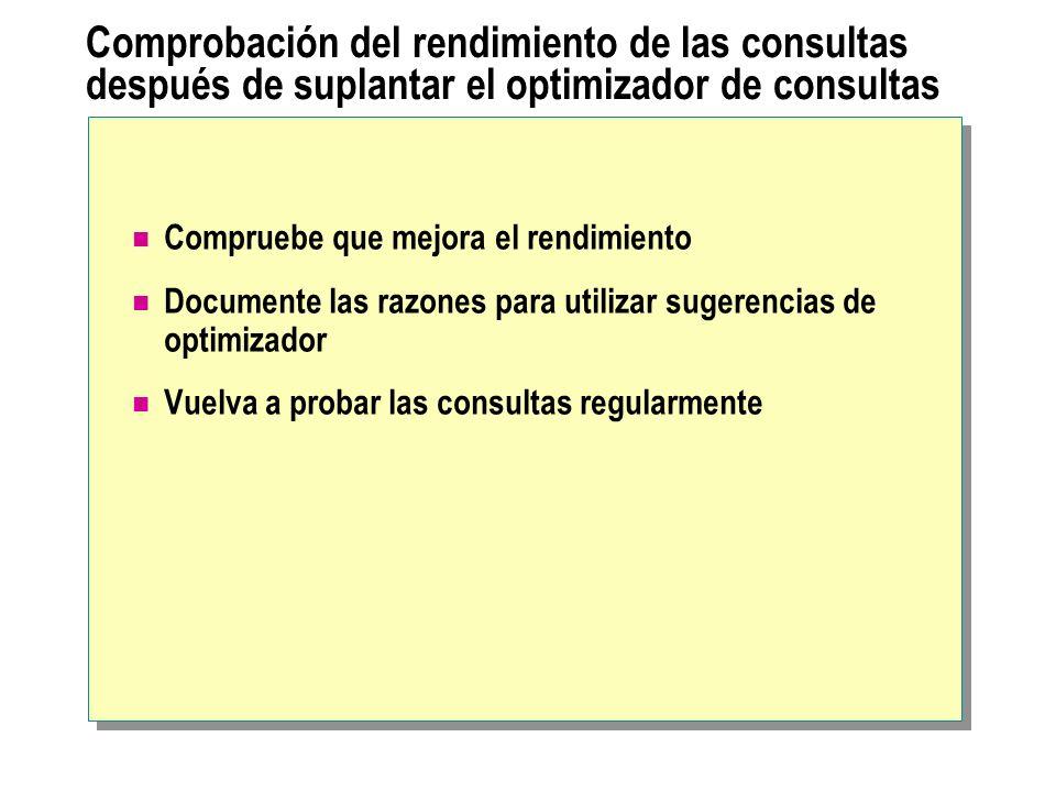 Comprobación del rendimiento de las consultas después de suplantar el optimizador de consultas