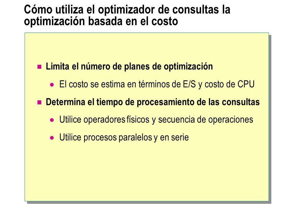 Cómo utiliza el optimizador de consultas la optimización basada en el costo