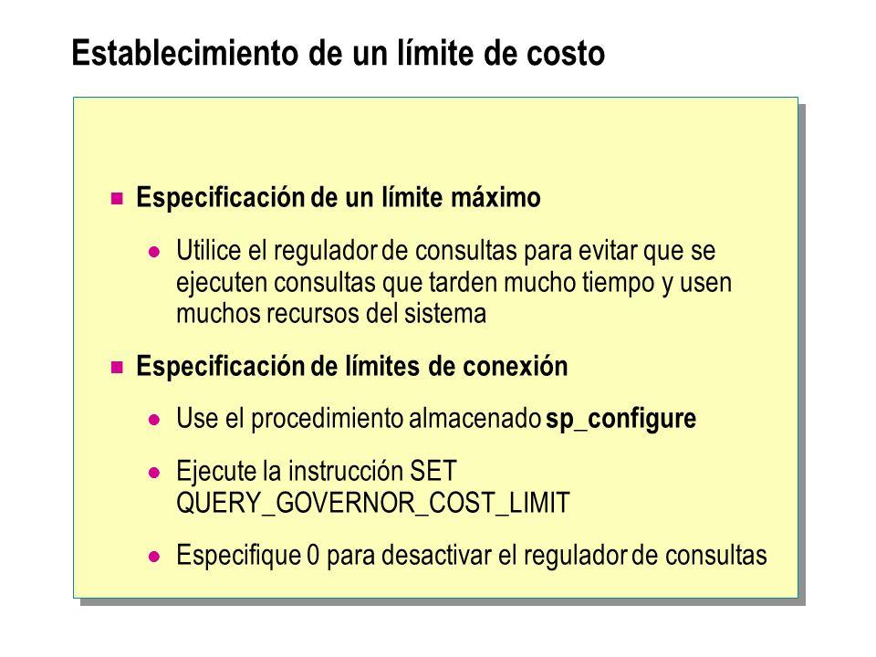 Establecimiento de un límite de costo