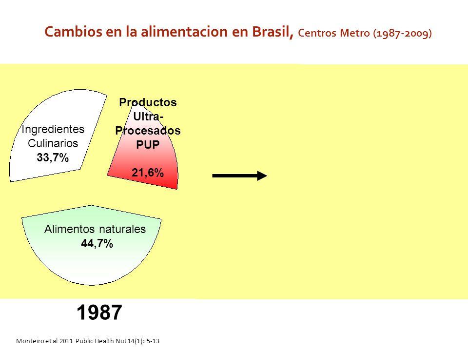 Cambios en la alimentacion en Brasil, Centros Metro (1987-2009)