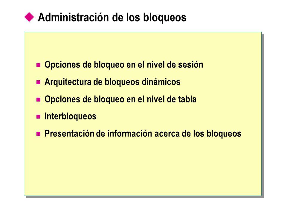 Administración de los bloqueos