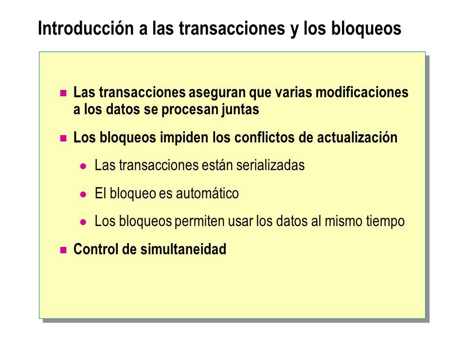 Introducción a las transacciones y los bloqueos
