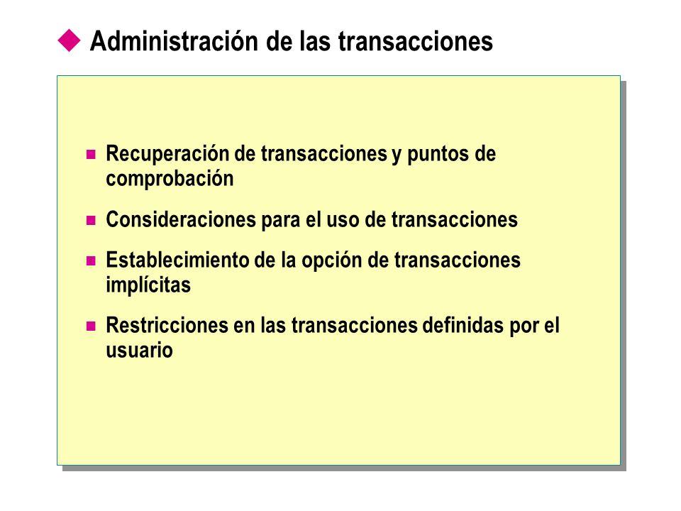 Administración de las transacciones