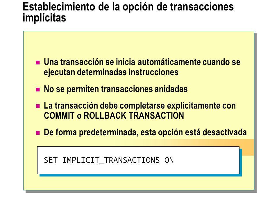 Establecimiento de la opción de transacciones implícitas