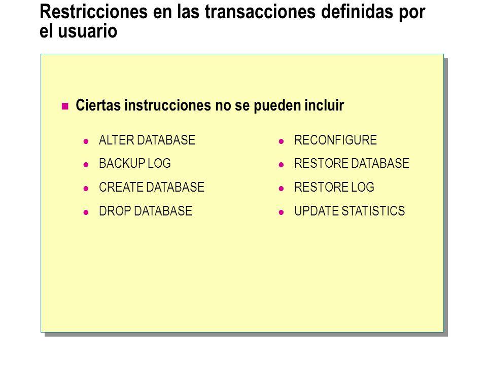 Restricciones en las transacciones definidas por el usuario