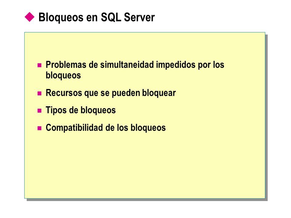 Bloqueos en SQL ServerProblemas de simultaneidad impedidos por los bloqueos. Recursos que se pueden bloquear.