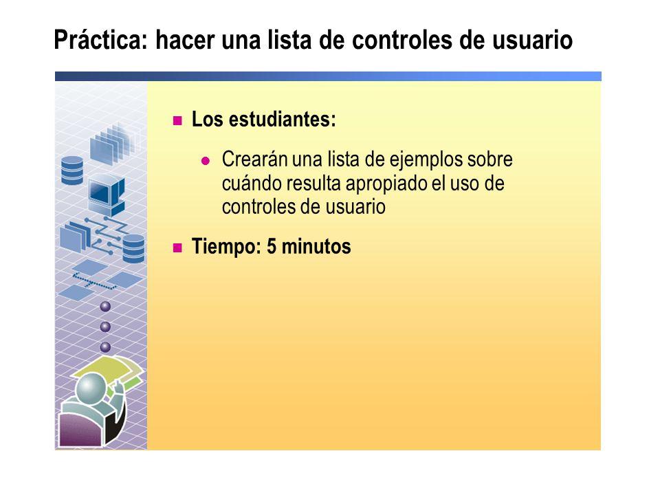 Práctica: hacer una lista de controles de usuario