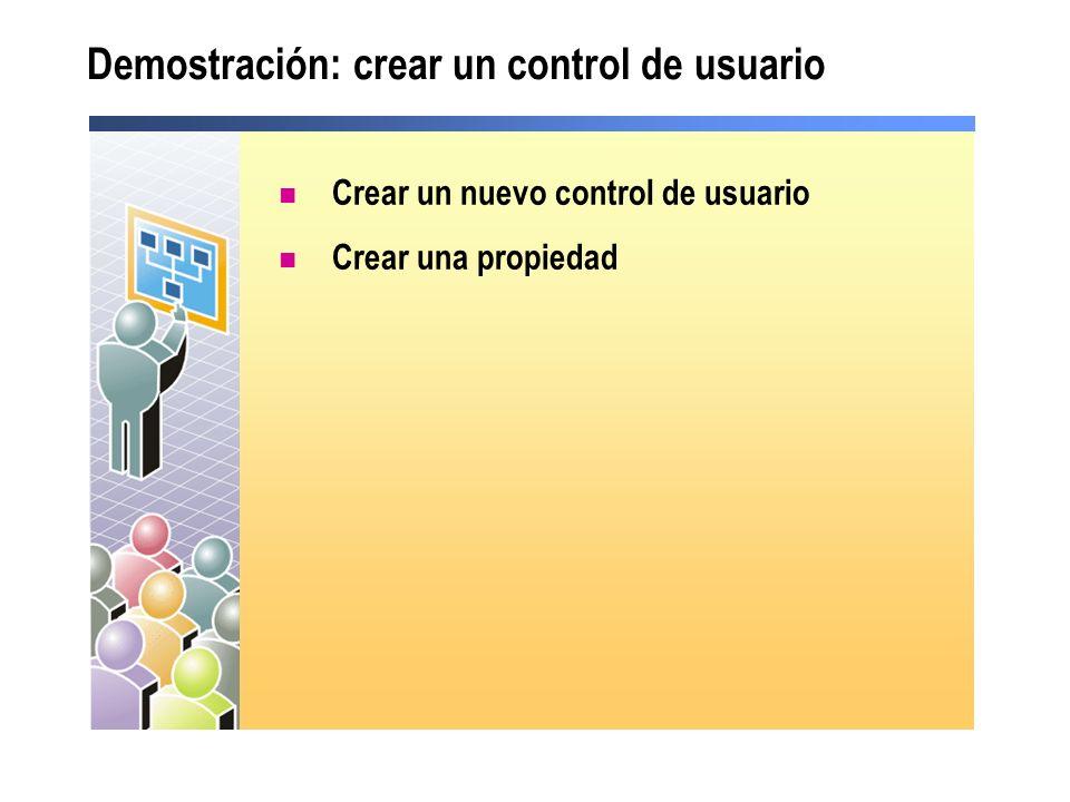 Demostración: crear un control de usuario