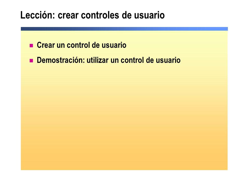 Lección: crear controles de usuario