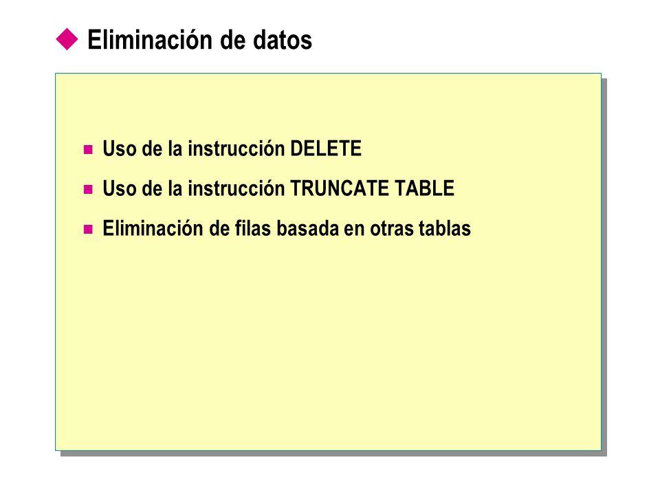 Eliminación de datos Uso de la instrucción DELETE