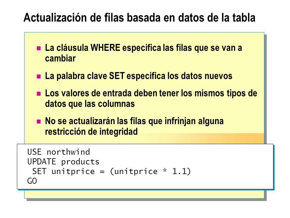 Actualización de filas basada en datos de la tabla