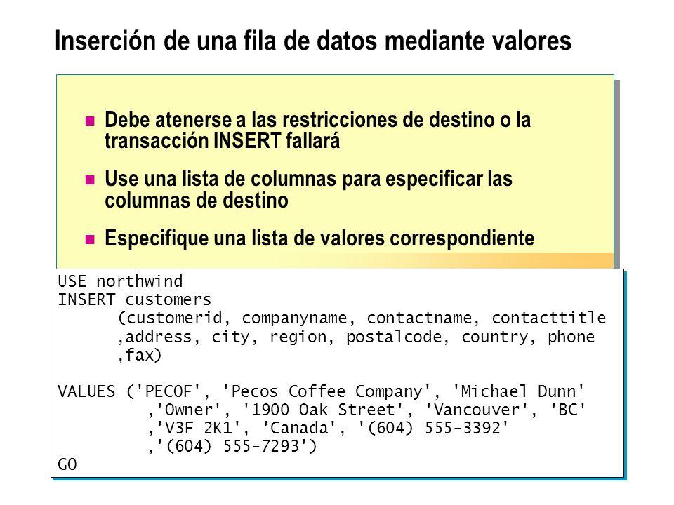 Inserción de una fila de datos mediante valores