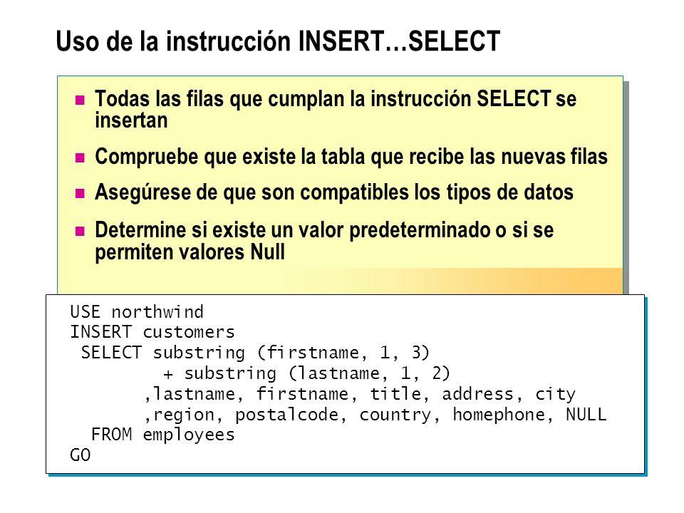 Uso de la instrucción INSERT…SELECT