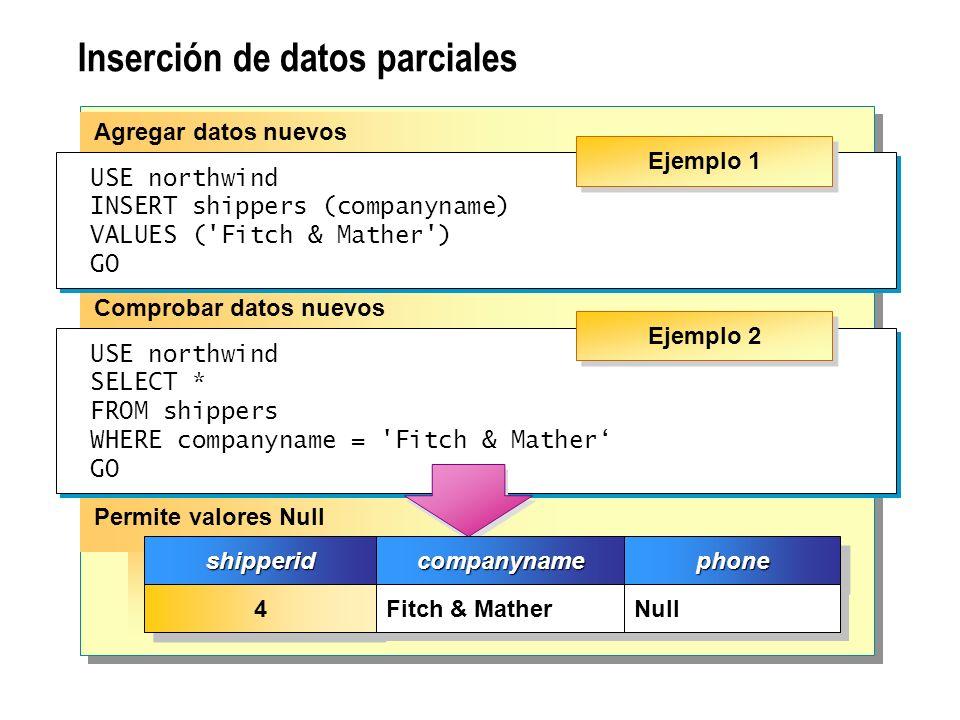 Inserción de datos parciales