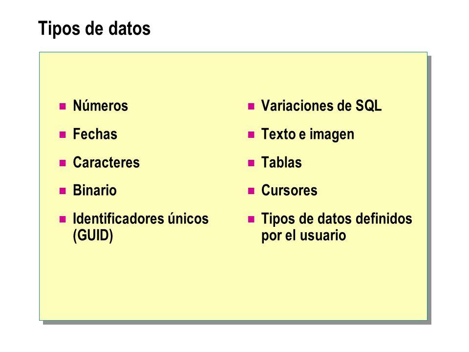 Tipos de datos Números Fechas Caracteres Binario