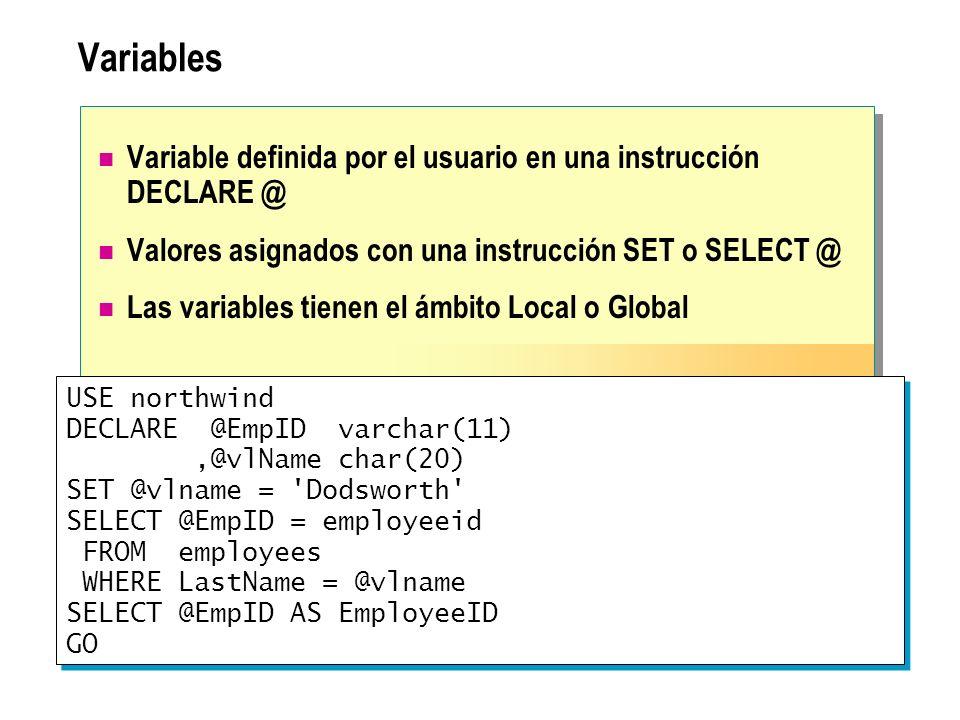 Variables Variable definida por el usuario en una instrucción DECLARE @ Valores asignados con una instrucción SET o SELECT @