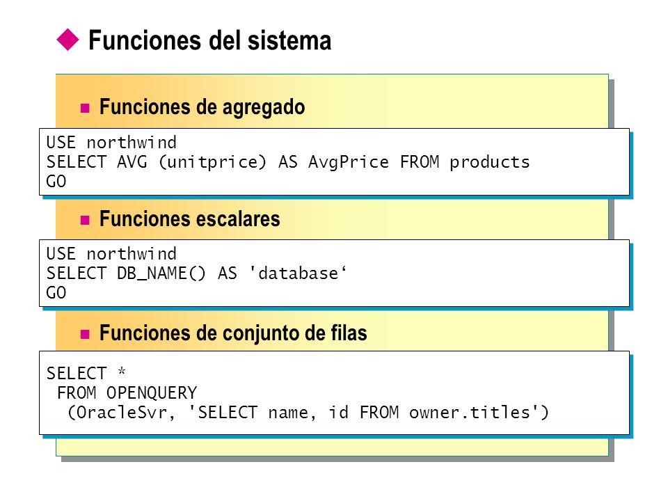 Funciones del sistema Funciones de agregado Funciones escalares