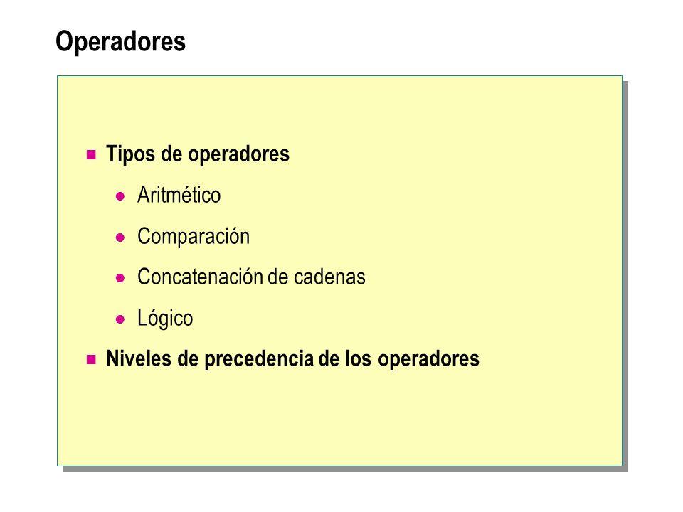 Operadores Tipos de operadores Aritmético Comparación